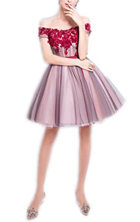 AUUOCC Soiree Lace Flower Cocktail Dress The Rouge Red A-line Short Dress Banquet Elegant Formal Prom Dresses at Amazon Womens Clothing store:
