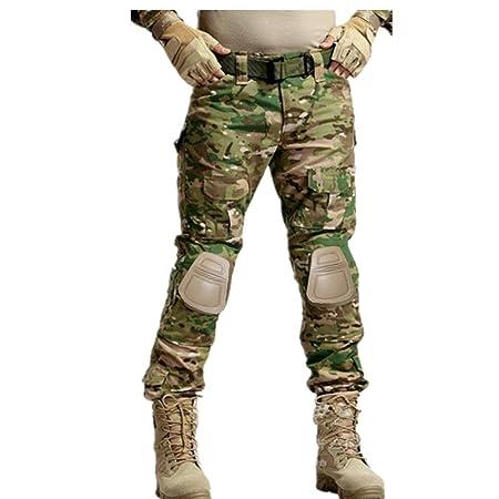 haoYK Military Paintball BDU Taktische Hosen Camo Airsoft Hosen Multi-Tasche Diensthosen mit Knieschützer Multicam