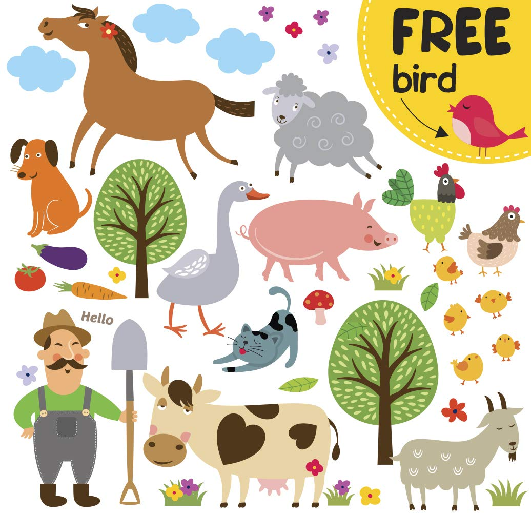 Farm Animal Barnyard Wall Decals for Kids - Farming Baby Room Children Stickers for Toddlers Bedroom [>40 Art playroom clings] + Free Bird Gift!
