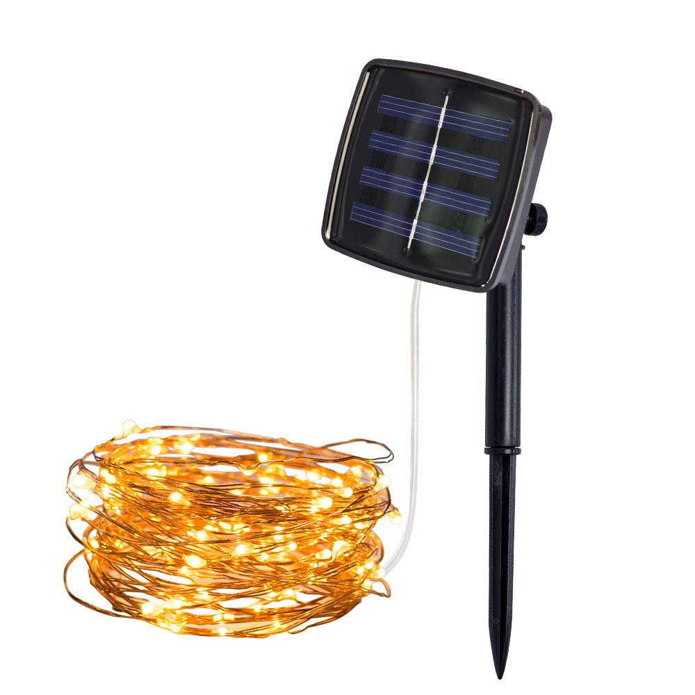 shamoluotuo Solar 50 LED Fairy Copper Wire Light String Solar Powered Waterproof Lighting Lamps for Patio Wedding Party Home Garden Bedroom Outdoor Indoor Wall Furniture Decorations 5M (Yellow)