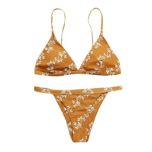 8e21c6c5382b0 Amazon.com: 2019 Hot! Sexy Bikini Set,Women Girls Two Pieces V Neck Thong Swimsuit  Flower Printed Beachwear: Clothing