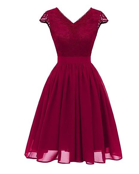 Amazon.com: DUOMI Vestido de cóctel vintage con encaje ...
