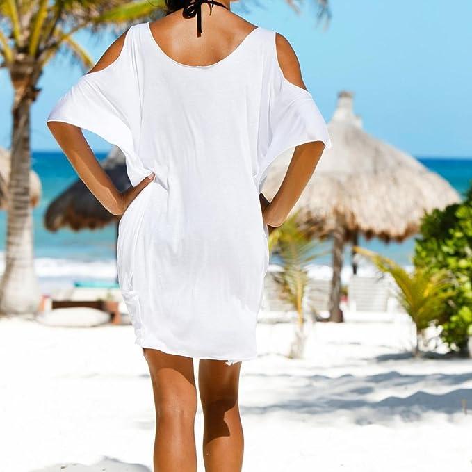 Vestido de mujer, Dragon868 Vestido de playa de verano Letras impresa vestido de bata mujeres: Amazon.es: Ropa y accesorios