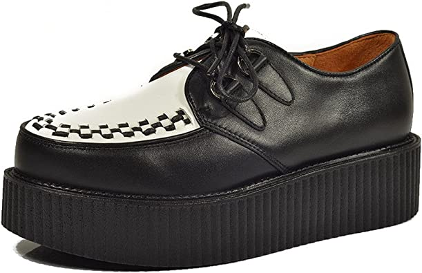 RoseG Homme Cuir Oxfords Lacets Plats Plateaforme Punk Creeper Chaussures