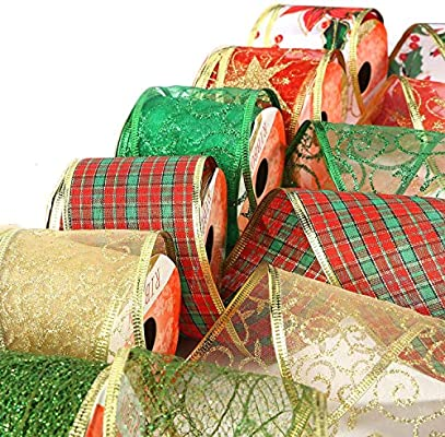 6pk Christmas Ribbons 6x6yards Assorted Plaid Sparkling Decorative,Wired Sheer