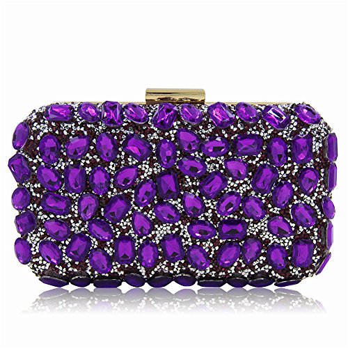 Color De De Imitación La Cadena Msfs La De De Bolsos De Diamantes Púrpura Fiesta De Boda Vestir Mujeres Hombro De De Embrague Las Del Noche De wwCq0SI