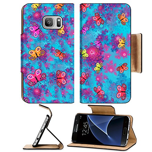 Luxlady Premium Samsung Galaxy S7 Flip Pu Leather Wallet Case IMAGE ID: 37799933 Stylized butterflies on pink blue fractal rosebud pattern computer generated graphic