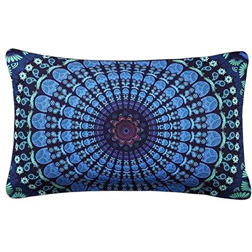 Rectangular Colorful Waist Pillow Cases, Leyorie Bohemia Printing Pillowcase Cafe Home Decoration Cushion Cover (G (Gorgeous Printing)