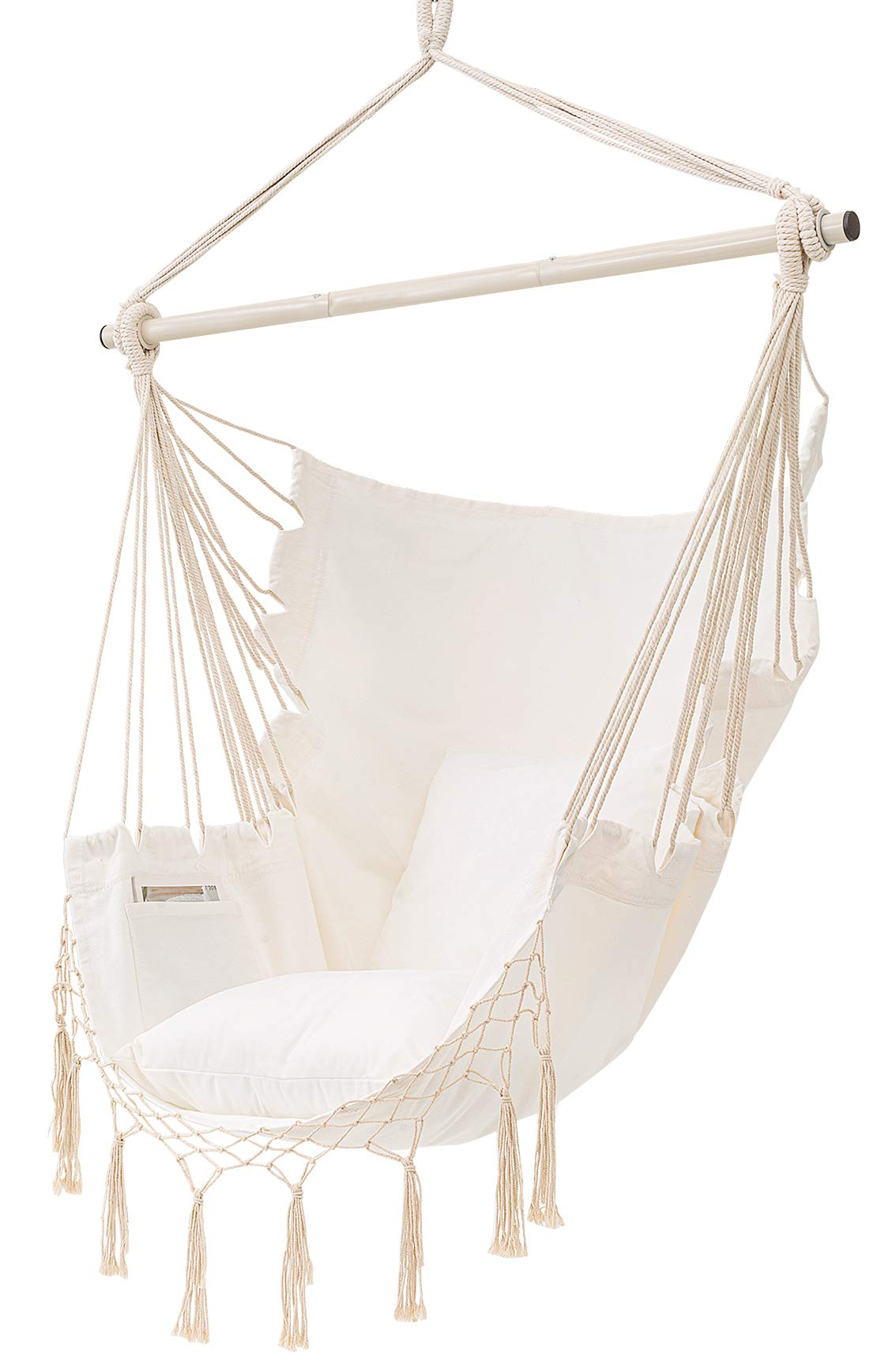 MoonLa Hammock Chair Hanging Rope Swing Seat Chair with Pocket Max 350 Lbs for Indoor Outdoor Home Bedroom Garden, Seat Cushions Not Included (Beige)
