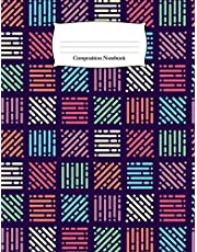 Composition Notebook: Colored Pixelated Patchwork Wide Ruled Notebook (School Composition Notebooks)