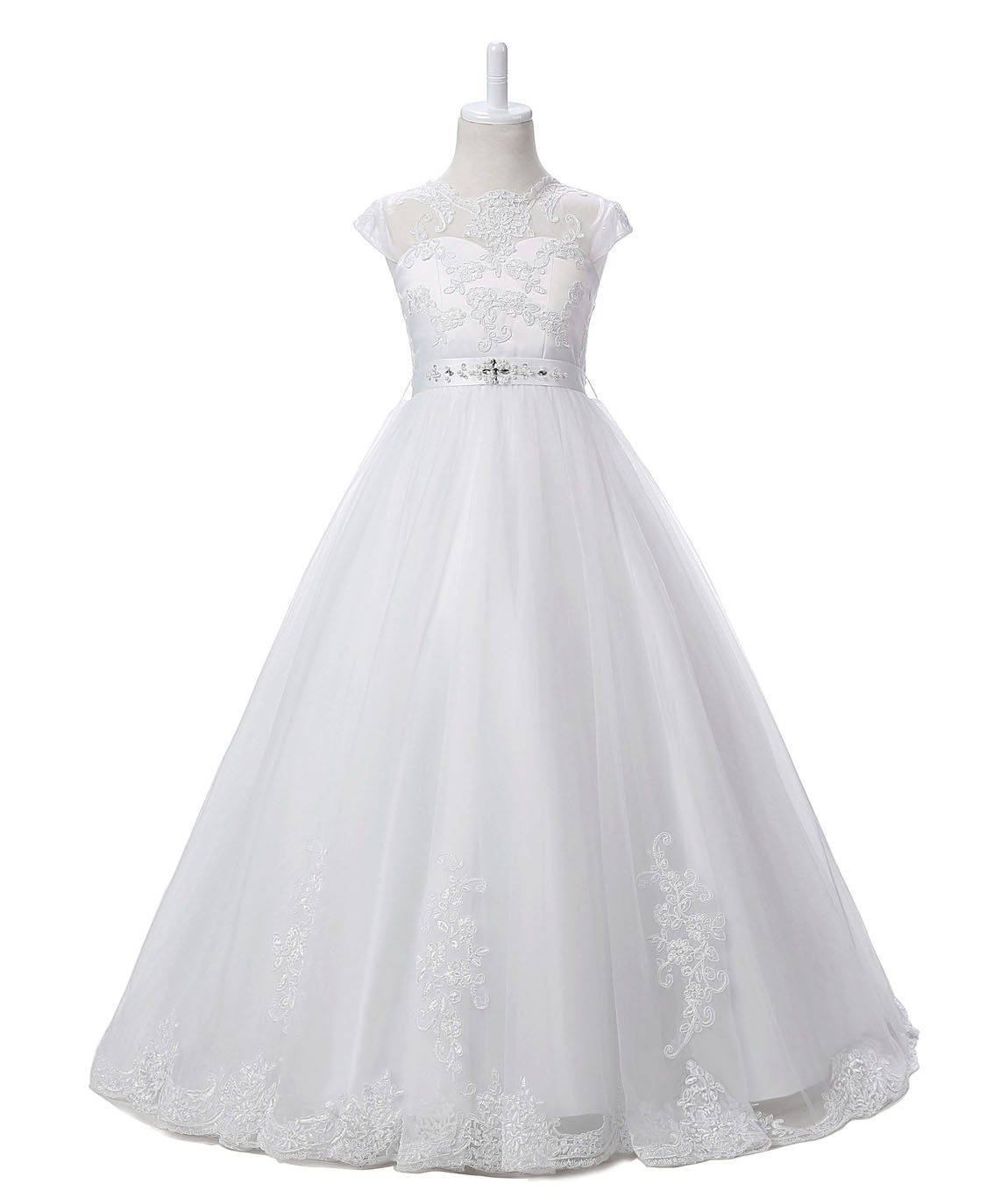 Nina Flower Girls Pageant First Communion Scoop Lace Dress White 7