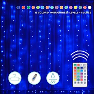 16 Colors Changing Window Curtain Lights, 200LEDs 9.84 Ft Waterfall Lights with Remote to Set 4 Lighting Modes & Timer Room Lights Decor for Bedroom Wall Christmas Wedding Party Outdoor Indoor