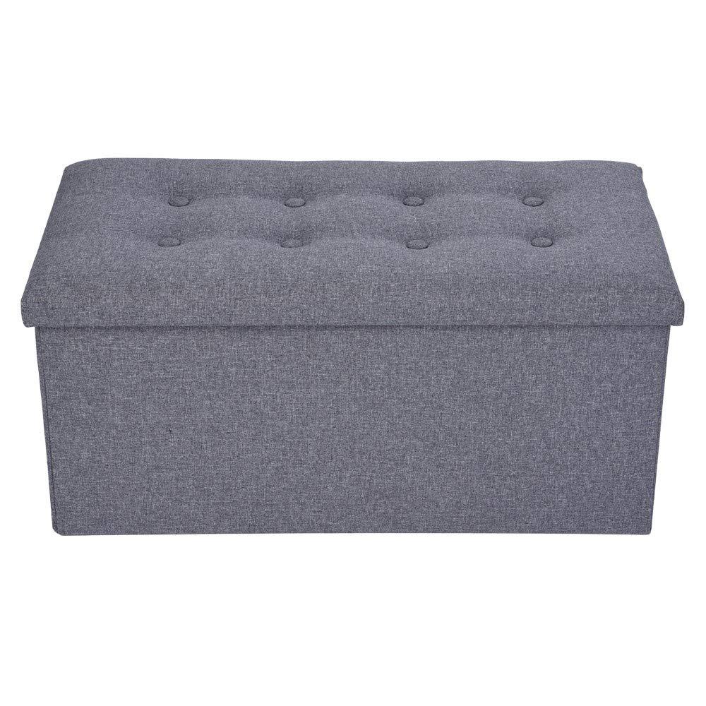 WONdere Linen Cotton Foldable Storage Stool Fabric Storage Box Change Shoes Sofa Stool