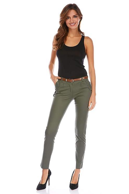 Pantalon femme kaki pas cher