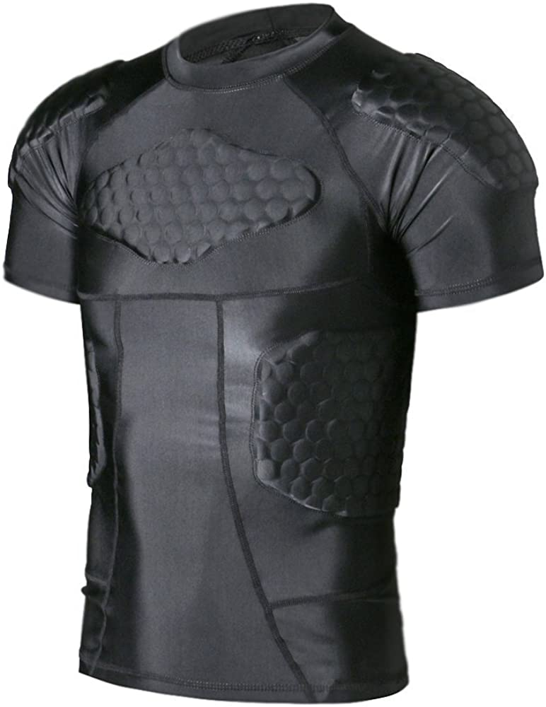 TUOY Men's Padded Compression Shirt Protective T Shirt Rib Chest Protector for Football Paintball Baseball