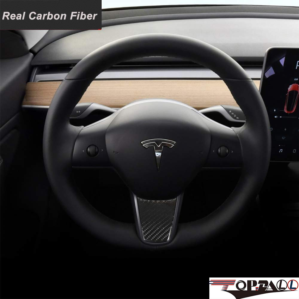 TopDall Car Interior Steering Wheel Cover,Car Carbon Fiber Steering Wheel Decoration Cover Sticker for Tesla Model 3 Model Three