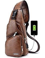 Pawaca, borsa a tracolla da uomo, marsupio in similpelle, ideale per uso all'aperto, con porta USB, zainetto da uomo per viaggi, affari e passeggiate