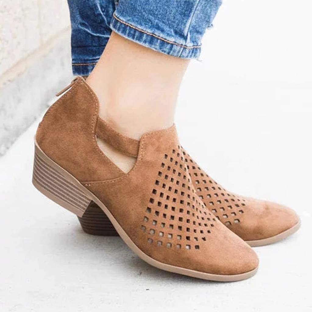 Nevera Round Toe Slip on Ankle Boot for Women Round Toe Side Cut Out Roman Slip On Shoes Brown