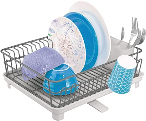 GRAPHITE PLATE AND RACK HOLDER KITCHEN LARGE PLASTIC DISH DRAINER