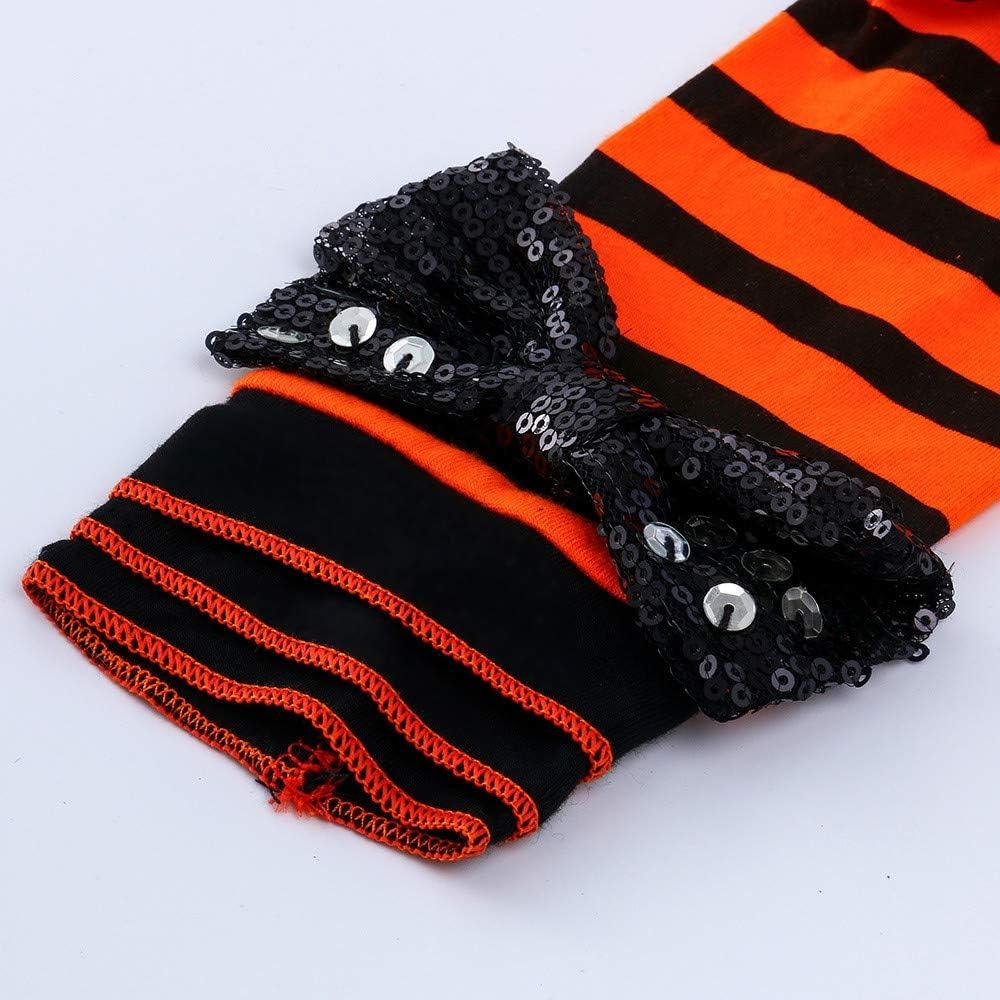 KONFA Toddler Baby Girls Boys Pumpkin Romper Leggings Headband,for 0-24 Months,Kids Halloween Playsuit Outfits Clothing Set
