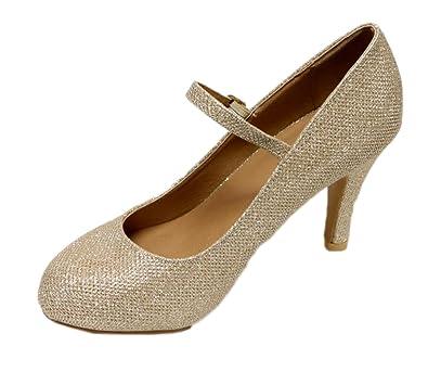 8ec73bc09e6 Bella Marie Helena-13 Women s Almond Toe Low Heel Mary Jane Glitter Suede  Pumps Champagne