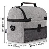 PuTwo Lunch Bag Insulated Tote Large Capacity with Adjustable Shoulder Strap Lunch Bag Allerbaby - Grey
