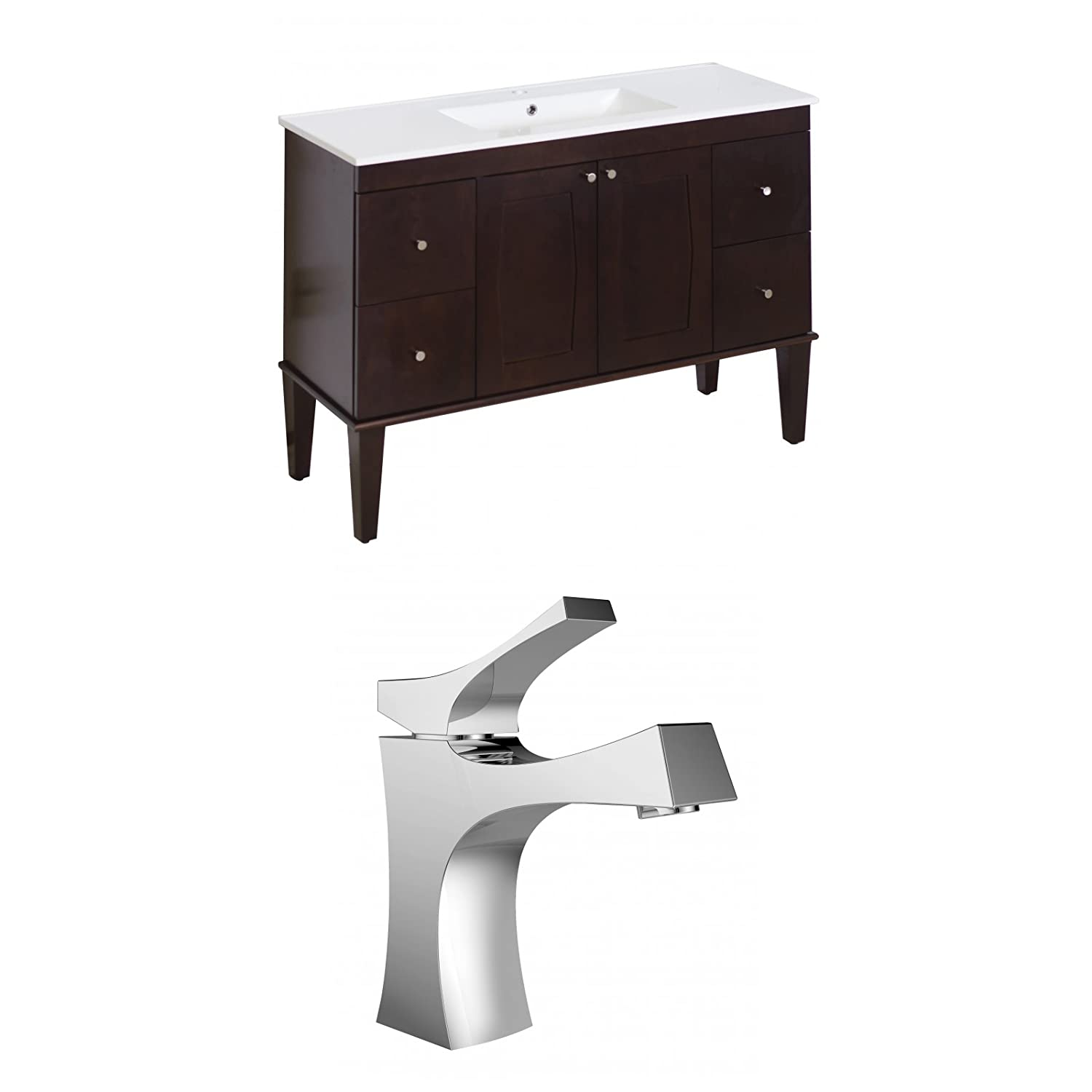 "chic Jade Bath JB-8189 48"" W x 18"" D Birch Wood-Veneer Vanity Set with Single Hole CUPC Faucet, Antique Walnut"