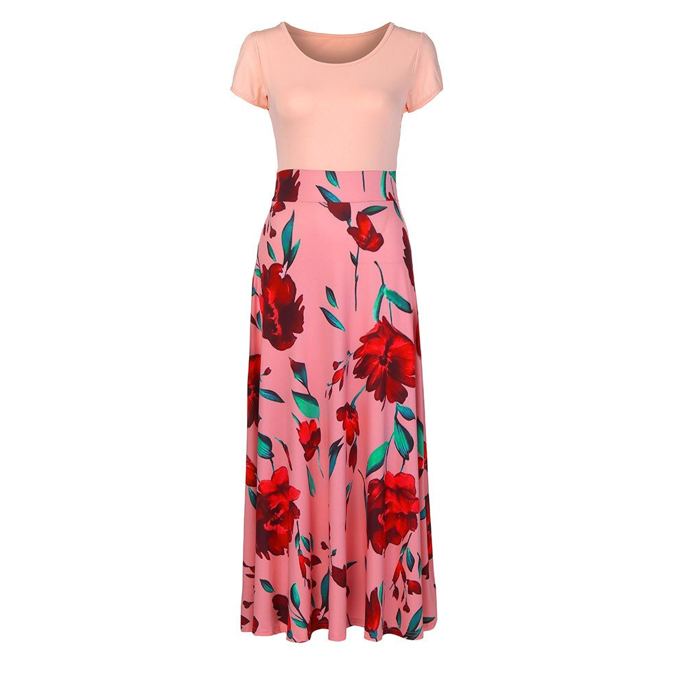 Fashion Maxi Dresses for Women Casual Summer Short Sleeve Floral Printed Tunic Long Dress Party Sun Dresses