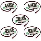 HiLetgo 5個セット 電圧メータ 3線 0.36インチ DC0-30V デジタル電圧メーター レッドLED ディスプレイ