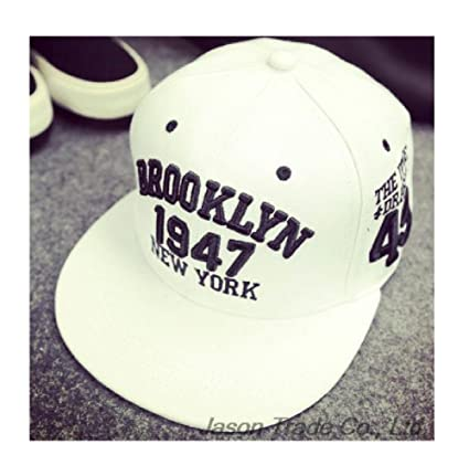 Amazon.com : SP-CHARMING 1947 Brooklyn Style Baseball Cap Gorras Planas Snapback Hip Hop (White) : Everything Else