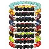 LOLIAS 8 Pack Bead Gemstone Bracelet for Men Women Natural Stone Diffuser Bracelet Stretch Yoga Bracelets (B:8FS a Set)