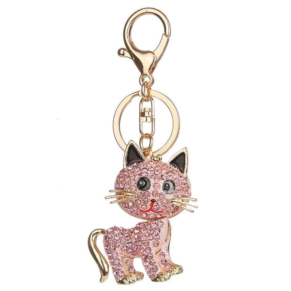 Rhinestone Cat Key Chain Keychain Bag Handbag Key Ring Car Key Pendant Miaomiaogo