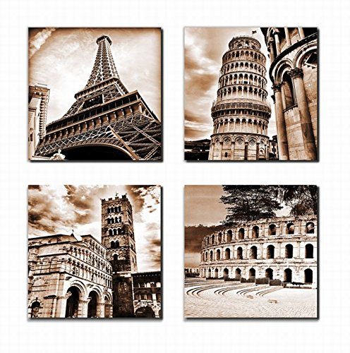 "Wall Art Canvas Prints Building Framed Ready to Hang - 4 Piece Dark Brown Famous Architecture Pictures Artwork Paris Eiffel Tower Leaning Tower of Pisa Italy Roman Colosseum 12"" x 12"" For Bedroom"