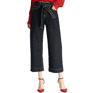 6bbc81ca7c88 ZhiYuanAN Femme Mode Large Jambe Jeans Ample Pantalons En Denim Avec  Ceinture