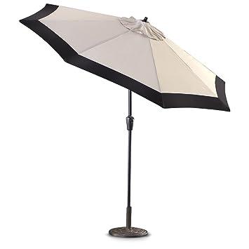 Superb CASTLECREEK 9u0027 Two Tone Deluxe Market Patio Umbrella Khaki / Black