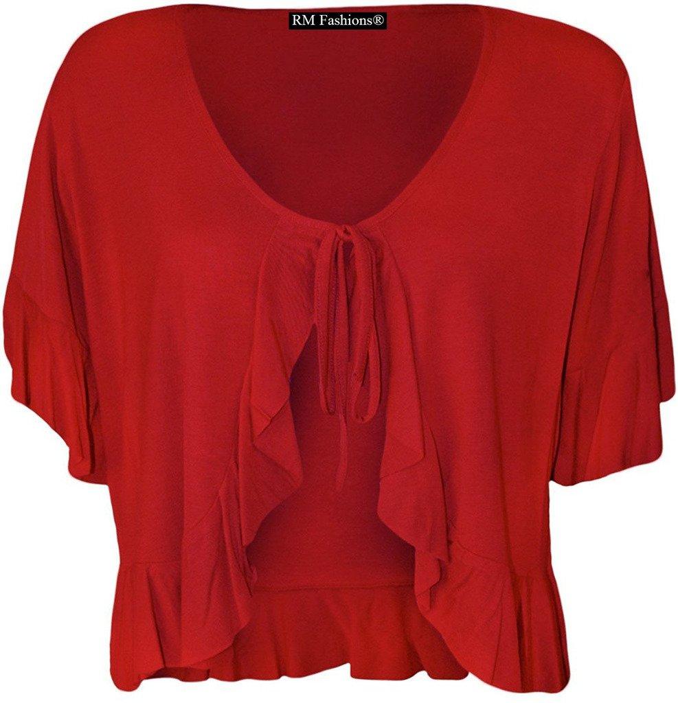 RM Fashions Women's Plus Size Frill Tie Short Sleeve Viscose Bolero Shrug Top Nouvelle