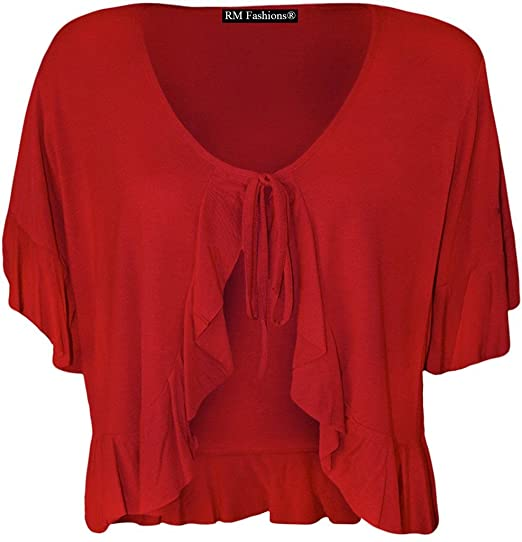 d752fa6fa7b Image Unavailable. Image not available for. Color  RM Fashions Women s Plus  Size Frill Tie Bolero Shrug Cardigan - Red ...