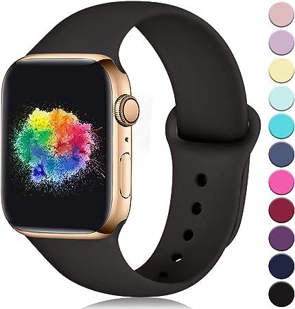 Imagen deYoumaofa Correa Compatible con Apple Watch 38mm 40mm, Correa de Silicona Repuesto Pulsera Deportivas para iWatch Series 5 Series 4 Series 3 Series 2 Series 1, 38mm/40mm S/M Marrón