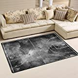 Yochoice Non-slip Area Rugs Home Decor, Vintage Grunge Black Basketball Court Floor Mat Living Room Bedroom Carpets Doormats 60 x 39 inches