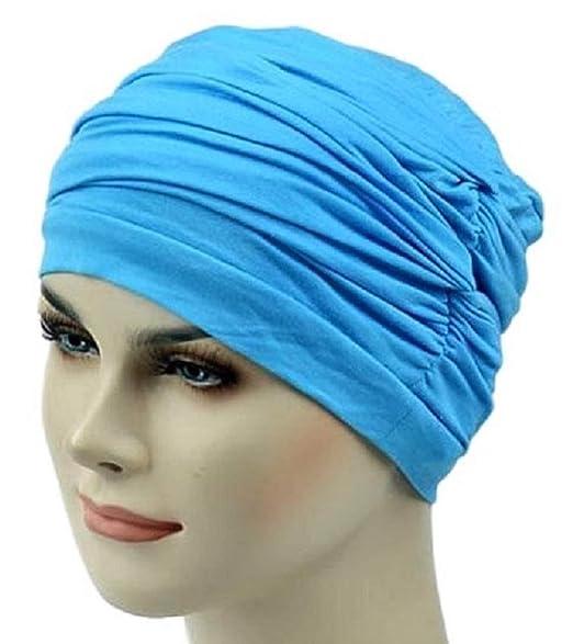 6c14cd2bf150d9 Women Bamboo Chemo Beanie Sleep Cap Turban Hair Loss hat Headwrap Cotton  Jersey (Light Blue) at Amazon Women's Clothing store: