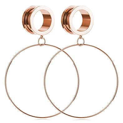 FECTAS 1 par de Acero Inoxidable Túneles de oído Calibradores Gran aro Aro Tapones de oído Expander Camilla Piercing Joyería Oro Rosa (4-20 mm): Amazon.es: ...