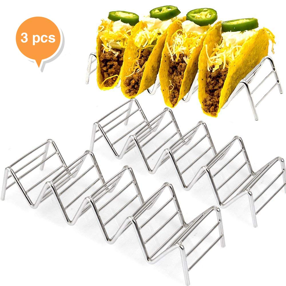 3 Pack Taco Holder ,W Space Stainless Steel Rustproof Baking Rack,Stand Hold Up To 4 Or 5 Hard Shell Tacos , Truck Tray Style Oven Safe Use Even in Dishwasher For Tamales , Desserts , Carnitas