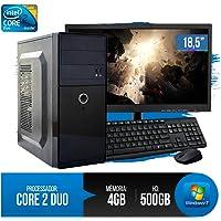 """PC Completo Intel Core 2 Duo, 4GB RAM DDR3, HD 500GB, Monitor 18,5"""" LED, Wi-Fi, Teclado e Mouse"""