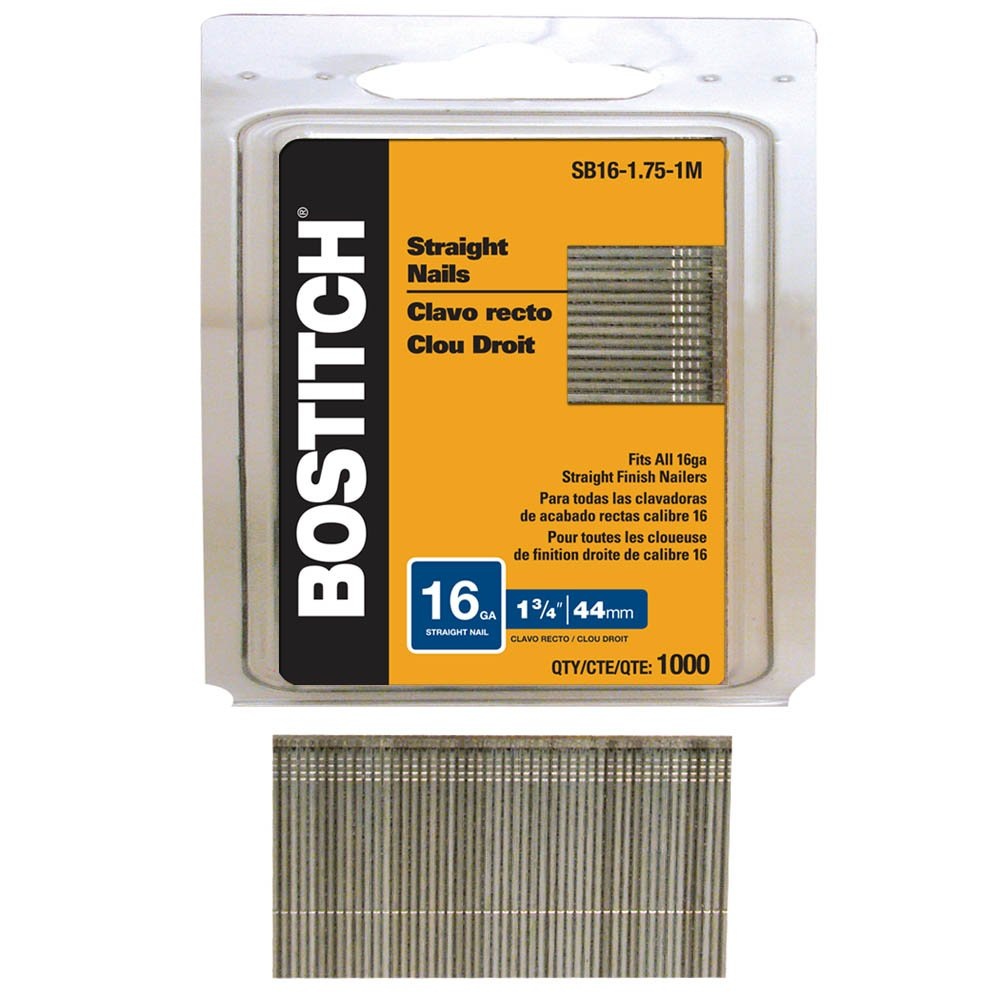 BOSTITCH SB16-1.75-1M 1-3/4-Inch by 16-Gauge Bright Straight Finish Nail, 1000-Per Box