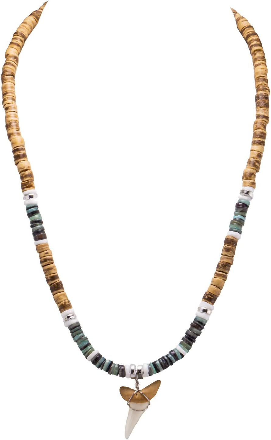 BlueRica Mako Shark Tooth Pendant on Tiger Coconut Wood Beads Necklace with Green Heishi and Puka Shells