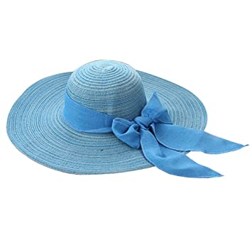 Damas   Chicas Sombrero de verano  Grande Sombrero de playa   Sombrero de sol  Para viajes   Outdoor adulto Azul  Amazon.es  Deportes y aire libre 52cd372da94