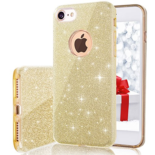 MILPROX Bling Luxury Glitter Pretty Cute Premium 3 Layer Hybrid Anti-Slick/Protective / Soft Thin TPU Case Compatible with 4.7 iPhone 7/8 - Gold