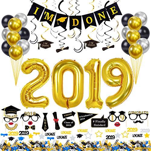 2019 Graduation Decorations Kit 59 Pieces – 2019 Graduation Balloons Gold 40-Inch, Graduation metallic chrome latex balloons, Graduation Hanging Swirls, I'M DONE Banner, Graduation Photo Booth Props, Graduation -