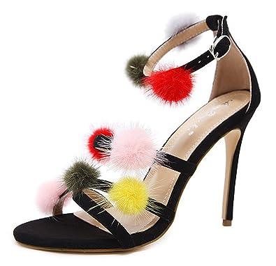SHOWHOW Damen Offene Zehe High Heels Stilettos Sandalen mit Schnalle Weiß 35 EU RZ8oLdc4b