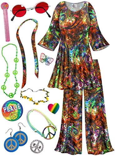 Paisley 2PC Plus Size Hippie Costume Deluxe Kit 2x